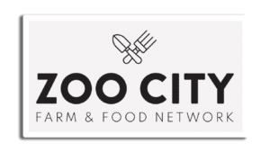 sticker with zoo city farm and food network logo